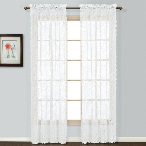 United Curtain Windsor Lace Window Curtain Panel, 56 by 84-Inch, White