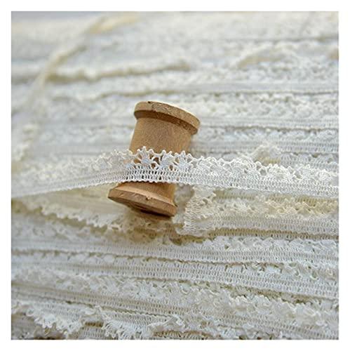 JOMOSIN AD819 Garniches en Dentelle en Coton élastique de 10 mètres de Coton Stretch Coton Ruban de Dentelle Ivoire DIY Matériau de la Machine à Coudre à la Main Patchwork Ruban de Dentelle