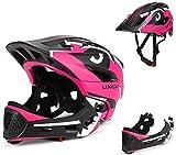 BMX Casco Infantil Integral para Ciclismo Enduro. Totalmente Ajustable con Mentoner Desmontable. Tamaño Ajustable Entre 48-58 cm (Rosa, 52-56cm)