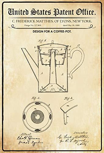 FS Patent Entwurf für eine Kaffeekanne Blechschild Schild gewölbt Metal Sign 20 x 30 cm