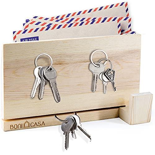 Boni Casa - Colgador magnético de madera [tecnología de roca magnética] Diseño moderno – Armario para llaves para decoración moderna | ver el listón de llaves