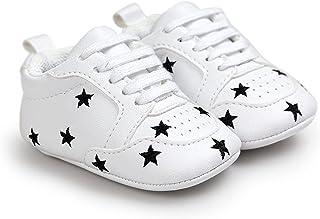 Baby Boy Girl Soft Sole Crib Shoes Toddler Infant Sneakers Star Print Prewalker Shoes 0-18 Month (Color : Black Stars, Siz...