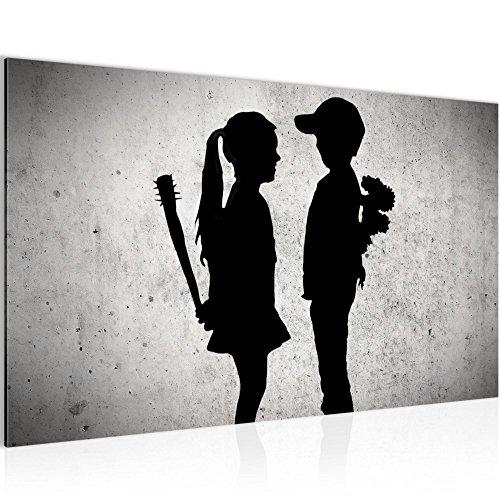 Bild Junge trifft Mädchen - Banksy Street Art Wandbild Vlies - Leinwand Bilder XXL Format Wandbilder Wohnzimmer Wohnung Deko Kunstdrucke Grau 1 Teilig - MADE IN GERMANY - Fertig zum Aufhängen 302114a