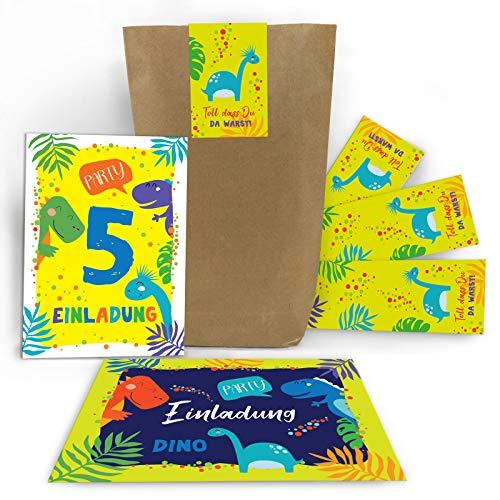 Junaversum 12 Einladungskarten zum 5. Kindergeburtstag Jungen Dinosaurier Einladungen fünfte Geburtstag incl. 12 Umschläge, 12 Tüten, 12 Aufkleber