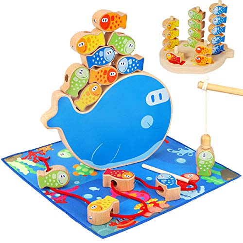 Fishing Game, Aitey 4 in 1 Wooden Magnetic Fishing Toys Montessori Sorting Stacking Fine Motor Skill Toys for Toddlers 2 3 4 Years Old Boys Girls