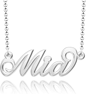 Q&Locket 925 Sterling Silver Classic Personalized Custom Name Necklace Script Initial Nameplate Necklaces Gifts for Girls Womens