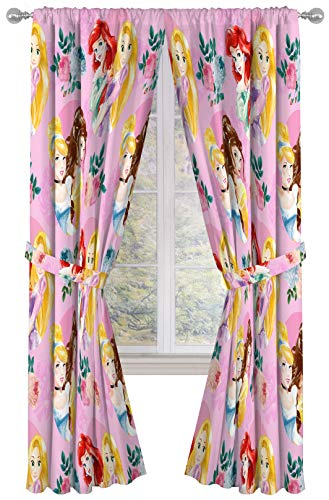 """Disney Princess Sassy 84"""" Inch Drapes 4 Piece Set - Beautiful Room Décor & Easy Set Up, Bedding Features Aurora & Rapunzel - Window Curtains Include 2 Panels & 2 Tiebacks (Official Disney Product)"""