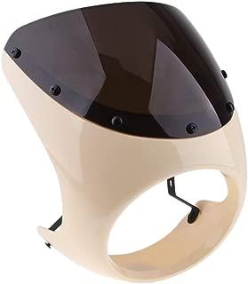 Gazechimp 7 inch Headlight Fairing Covers Front Head Light Cowl Headlamp Visor Shield for Cafe Racer Motorcycle Universal, White