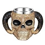 Tazza in acciaio inox con doppio manico a forma di teschio, con teschio di guerriero vichingo medievale, boccale da birra, tazza da caffè, 481,9 g, regalo unico