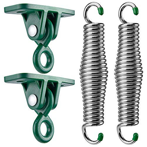 SwingMate Porch Swing Hanging Kit - 750 Lbs Capacity, with Heavy-Duty Suspension Swing Hangers, Safe for Hammock Chairs or Ceiling Mount Porch Swings - Rust Resistant Springs (Chrome)