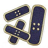 Flicken zum aufbügeln Set Pflaster 3 Bügelflicken Jeans blau klein 3 x 8,3cm / Kreuzpflaster 8,5 x 8,5cm / groß 4,3 x 12,3cm Aufnäher als Bügelbilder geeignete Applikationen Accessoires...