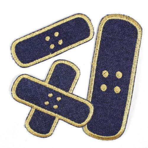 Flicken zum aufbügeln Set Pflaster 3 Bügelflicken Jeans blau klein 3 x 8,3cm / Kreuzpflaster 8,5 x 8,5cm / groß 4,3 x 12,3cm Aufnäher als Bügelbilder geeignete Applikationen Accessoires gestickt