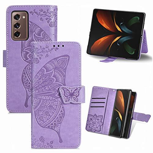 TingYR Coque pour Samsung Galaxy Z Fold 2 5G, Housse en Cuir avec Premium Flip Coque, Portefeuille Etui avec Stand Support et Carte Slot Samsung Galaxy Z Fold 2 5G.(Violet Clair)