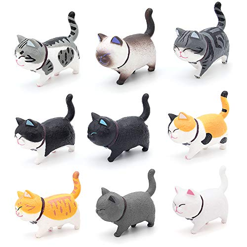 Bemodst Car Cute Cat Ornaments Lovely kitten Car Interior Dashboard Decoration Auto Crafts Mini Animal Creative Gifts For Car Home Desk Docoration (Cool Color)