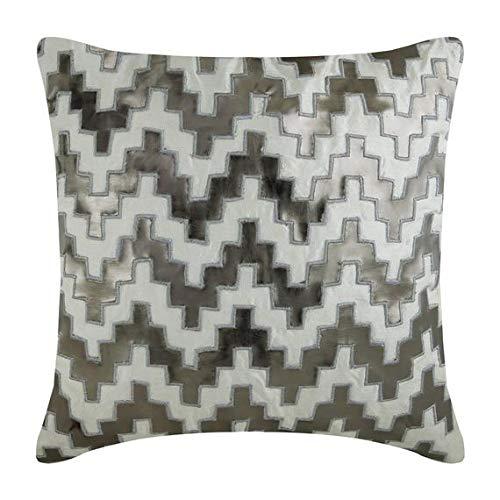 The HomeCentric Housses de coussin décoratives 65 x 65 cm gris, Cuir Jetez les couvertures de coussin, couvertures faites main de coussin -Steely Progress
