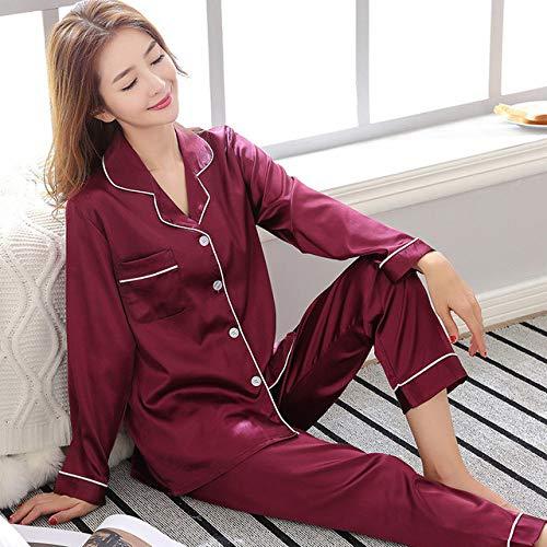 SDCVRE Conjunto de Pijama Ropa de Dormir de Color sólido Pijamas de satén de Seda Conjunto de Pareja Pijama Largo con Botones Traje Pijama Mujer Hombre Ropa de Estar de Talla Grande Conjunto de pij