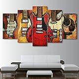 WUHUAGUO Cuadros Modernos Impresión De Imagen Artística Digitalizada   Lienzo Decorativo para Salón O Dormitorio Accesorios Guitarra Musica Estilo Abstractos   5 Piezas 150X80Cm XXL