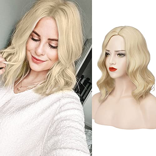 FESHFEN Short Pastel Wave Bleach White Blonde Bob Wigs with L Part 14 Inch Shoulder Length Synthetic Wigs for Women Girls Cosplay Costume Parties
