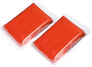 Dyrenson サバイバルシート 2枚セット 210x130CM 非常時用シート エマージェンシーブランケット アウトドアや防災に 軽量 繰り返し使用可 オレンジ