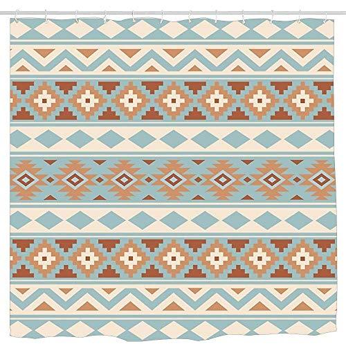 QIUJUAN Duschvorhang, Aztec Essence Pattern Iiib Blue Cream Terracottas 60 X 72 Inch Bath Curtain Waterproof Polyester Fabric Bathroom Shower Curtain