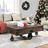 FirsTime & Co. Factory Cart Coffee Accent Table, 45' x 17' x 29.5', Rustic...