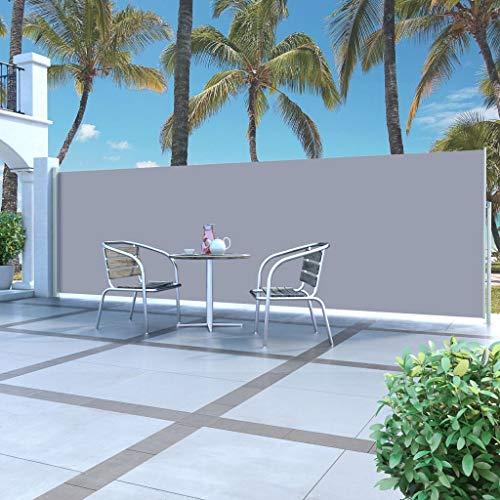 UnfadeMemory Terrassenmarkise Seitenmarkise Ausziehbar Sichtschutz Windschutz für Balkon Garten und Terrasse (160 x 500 cm, Grau)