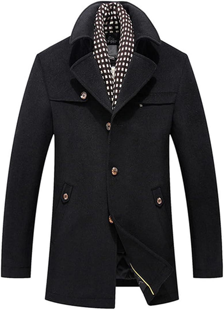 Men Jackets Wool Coats Single Button Male Pea Coat Slim Overcoat Warm Windproof Coats
