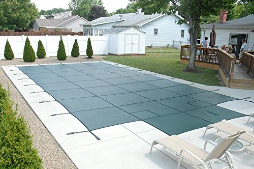 GLI Secur-A-Pool 16 FT X 32 FT Rectangular Mesh Safety Cover System with 4 FT X 8 FT Center End Step, Green