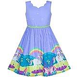 Sunny Fashion Vestido para niña Unicornio Arco Iris Fiesta Princesa 12 años