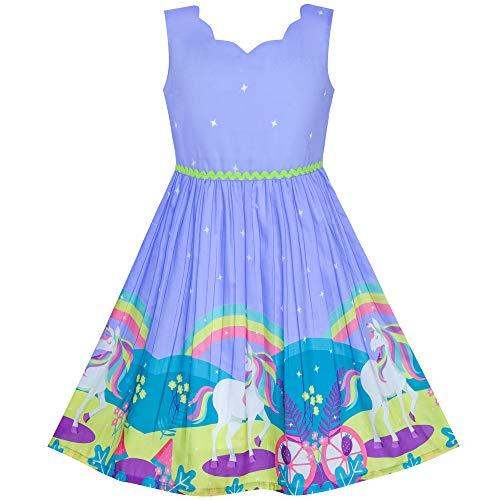 Sunny Fashion Vestido para niña Unicornio Arco Iris Fiesta Princesa 4 años
