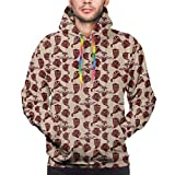 Men's Hoodies 3D Print Pullover Sweatershirt,Sketch Style Woodland Birds Pattern with Happy Sad and Angry Expressions,M