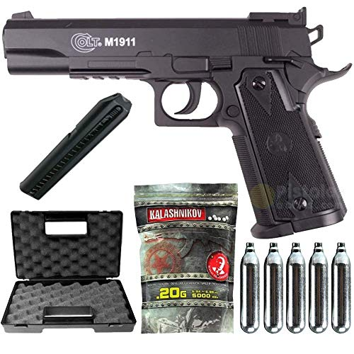 Airsoft Pack Colt 1911 Match Co2-Cybergun 180306- Semi Automatik (0,5 Joule) -mit Zubehör