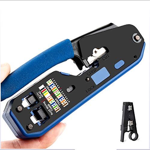 QWERTOUR Werkzeug Netzwerk Crimper Crimpwerkzeuge Stripper Cutter Ethernet-Kabel Fit RJ45 Cat6 Cat5e Cat5 Cat3 RJ11 RJ12 Stecker Blau