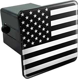 Graphics and More Subdued American USA Flag Black White Military Tactical Tow Trailer Hitch Cover Plug Insert 2