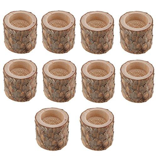 PETSOLA Pack 10 STÜCKE Baumstumpf Kerzenhalter Teelicht Kerzenständer