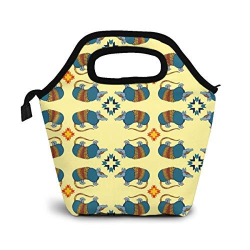 TUYUFBAGS Südwestliches Gürteltier Auf Gelb Lunch Tasche Wasserdicht Leichte Picknicktasche Mittagessen Isoliertasche Thermotasche Auslaufsichere zur Arbeit und Schule gehen