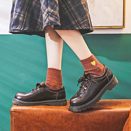 Women's Leather Classic Shoe Vintage Lace Up Oxford Dress Shoes (Brown 2, Numeric_7)