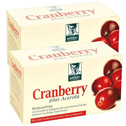 BADERs Cranberry plus Acerola aus der Apotheke. Rotbuschtee mit Cranberry-Saftgranulat. 2 x 20 Filterbeutel
