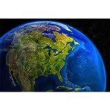 GREAT ART Mural de Pared ? América En El Día Fuera del Espacio ? Space Universe Obra Todas Las Planetas Continente Motivo Foto Papel Pintado Y Tapiz Y Decoración 210 x 140 cm