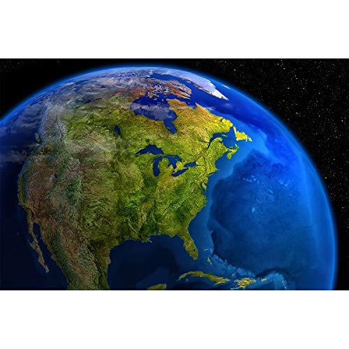 GREAT ART Fototapete – Amerika am Tag – Wandbild Dekoration Space Weltall Kosmos Weltkugel World Map Day USA Wandgestaltung Welt Globus Foto-Tapete Wandtapete Fotoposter Wanddeko (210 x 140 cm)