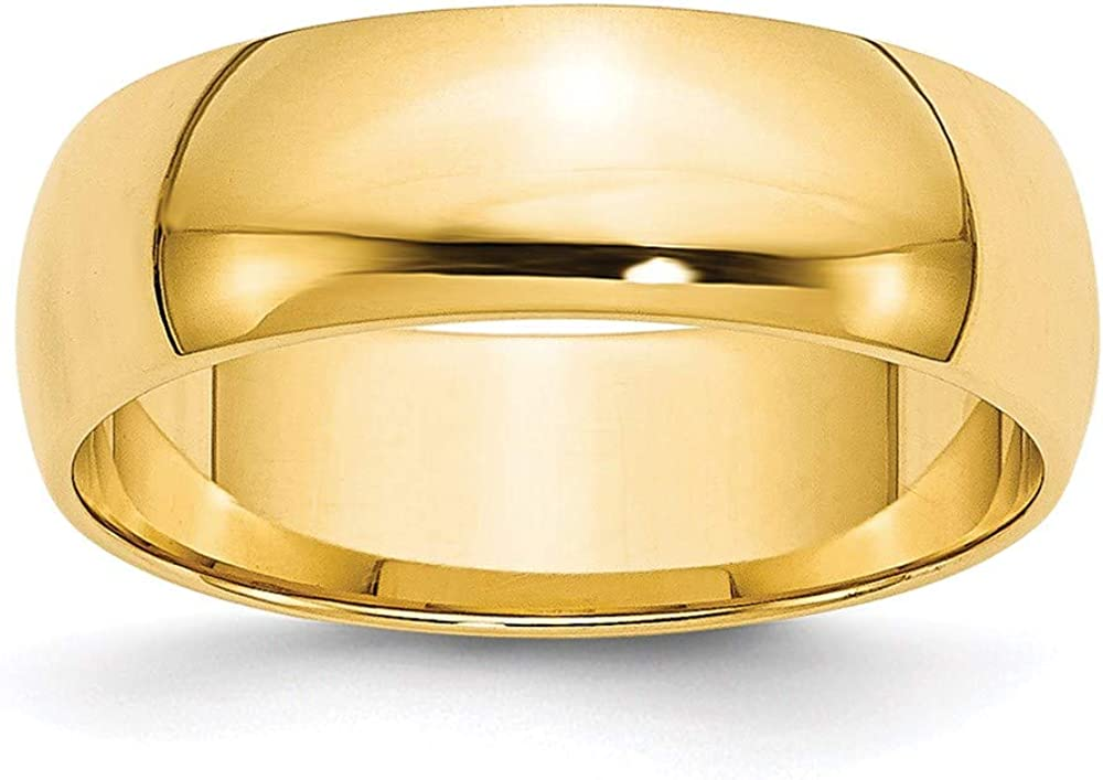14k Yellow Gold 6mm Half Round Wedding Ring Band Size 11.5 Classic Fine Jewelry For Women Gifts For Her