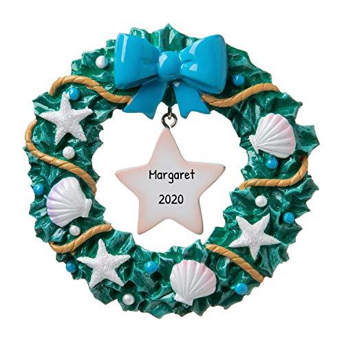 Personalized Starfish Wreath Christmas Tree Ornament 2020 - Beach Lover Sea Star-Shaped Echinoderm Birthday Shell Mom Asteroidea Basket Coastal Maine Nautical Gift Year - Free Customization