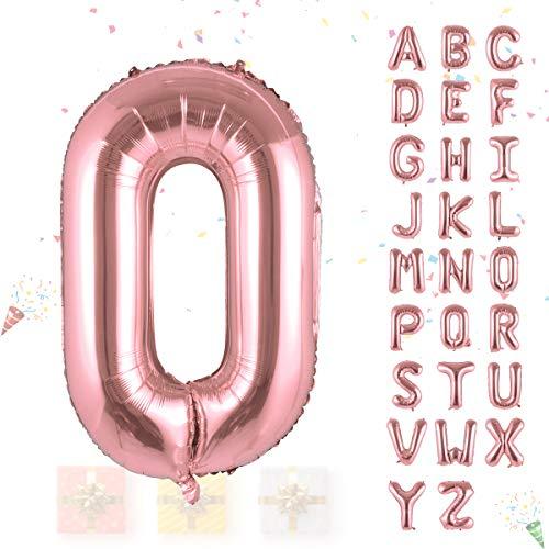 Hivexagon Globo con forma de letras y números de aluminio de 32 pulgadas Globos Decoración con Globos Pancarta para Fiestas de Cumpleaños Bodas Navidades (Rosa dorado) HP026