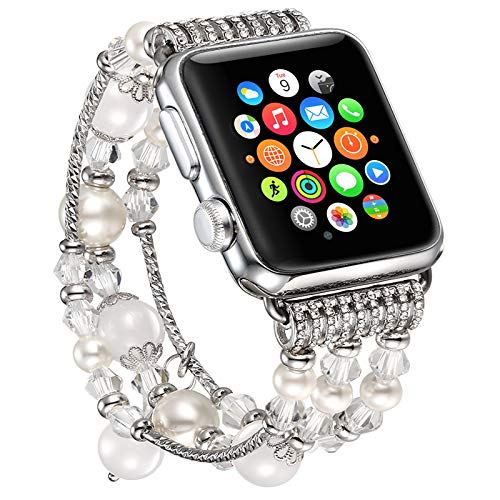 Fastgo for Apple Watch Band 38mm, Ladies Luxury White Beaded Natural Stone Band Replacement iWatch Strap Women Series1/2/3 (White - 38mm)