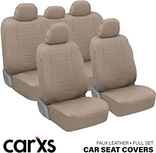 carXS UltraLuxe Faux Leather Car Seat Covers, Full Set � Front and Rear Bench Back Seat Cover, Padded for Comfort, Universal Fit for Cars Trucks Vans & SUVs (Beige)