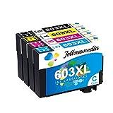 Jettruemedia 603XL - Cartuchos de tinta compatibles con Epson Expression Home XP-3100 XP-2105 XP-4100 XP-2100 XP-3105 XP-4105 WF-2810 WF-2830 WF-2835 WF-2850 (4 unidades)