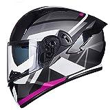 ZHEN Casco Integral Integrado de Moto de Nieve para Motocicleta con Visor Dual antivaho, Casco Modular abatible de Motocross para Hombres y Mujeres, Casco Aprobado por ECE (55-65 CM)