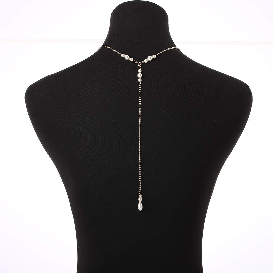 Bomine Back Necklace Sexy Crystal Backdrop Necklace Body Chain Jewelry Bridal for Women and Girls (Gold)