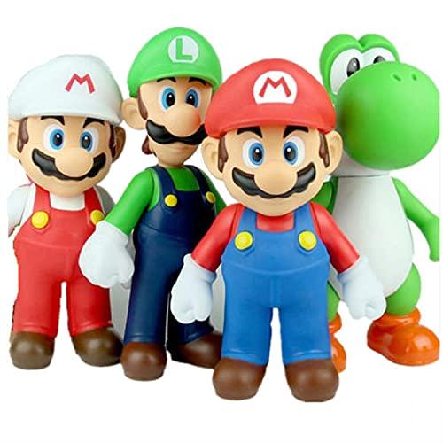 Super Mario Toys Set de 4 Super Mario Bros Luigi Yoshi Donkey Kong Wario PVC Acción Figura de juguete coleccionable Marionetas Modelo Juguetes para niños regalos de cumpleaños