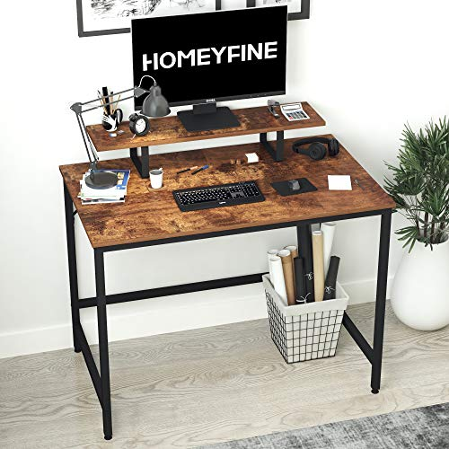 HOMEYFINE Computer Desk,Laptop Table with Storage for Controller,40 Inches,Wood and Metal,Study Table for Home Office,100 cm(Vintage Oak Finish)